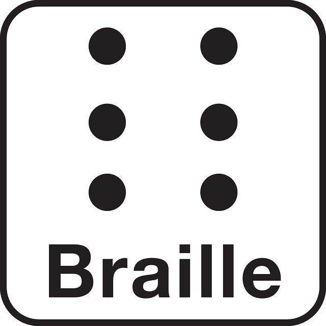 Aiutare quelli con disabilità con i segni Braille ADA