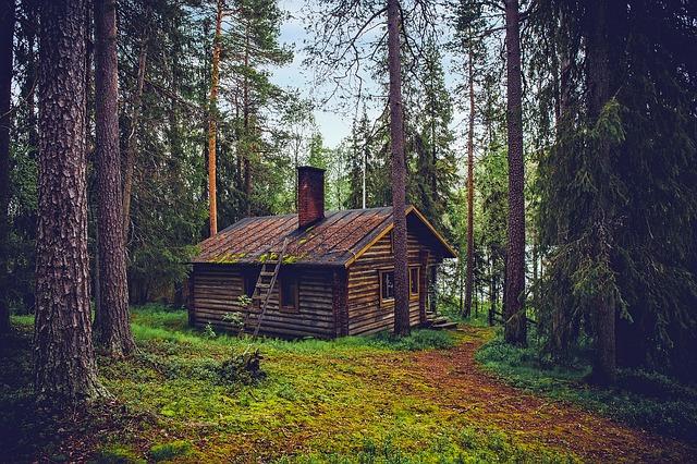 Piani di casa cabina di ceppo verd